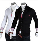 Stylish Mens Long Sleeve Solid Collared Slim Fit Casual Dress Shirts Tops Blouse