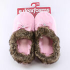 Dearfoams Pink Scuffs Slippers for Women Closed Toe Bow Faux Fur Indoor/Outdoor