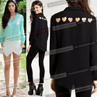 Womens Summer Chiffon Cut Out Loose Button Down Clubwear Shirts Blouse Tops 766