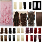 17-30new PINK/RED/blonde/curly/straigt/wavy 3/4 Full Head Clip In Hair Extension