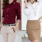 Women Office Lady Career Formal Long Sleeve Revit Studded Button Up Blouse Shirt