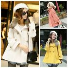 Women Autumn Winter Fur Collar Double Breasted Medium Long Trench Coat Peacoat