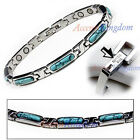 Women's Turquoise Stainless Steel Magnetic Golf Link Bracelet
