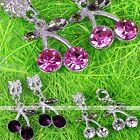5X Crystal Cherry Dangle Loose European Spacer Bead Charm Fit Chain Bracelet DIY