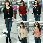 Women Casual Hollow out Batwing Sleeves Knitted Loose Sweater Knitwear Pullover
