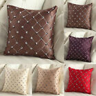 Embroidered Grid Car Throw Pillow Case Chusion Cover Home Decor Square 17''