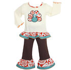 AnnLoren Girls Fall Blossom Turkey Shirt & Pants Outfit sz 12/18 mo -9/10