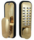 Digital Push Button Door Lock with Holdback in Brass Finish or Optional XL Kit