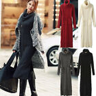 Women's Fall Winter Warm Knit Maxi Long Dresses Cowl Neck Jumper Tops 4 Colors