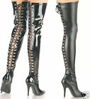 Womens Thigh High Heeled Tight Boots w/ Lace Up Back 5""