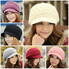 New Fsshion Womens Winter/Fall Warm Rabbit Fur Double Sides Knit Hat Peaked Cap