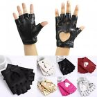Women's Cutout Half Finger Fingerless Faux Leather Punk Dancing Hip-Hop Gloves