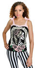 Too Fast Annabel Bow  Cameo Skull Tank Top T Shirt Goth Gothic Black
