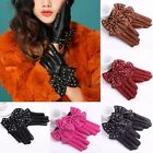 Women's Fall Punk Rock Soft Faux Leather Rivets Studded Bowknot Wrist Gloves