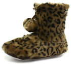New Dunlop Bridgette Leopard Womens Furry Boot Slippers ALL SIZES