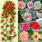 Silk Artificial Rose Flowers Leaf 2.4m Ivy Vine Garland Wedding Party Home Decor