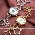 Women Dangle Snowflake Star Chain Bracelet Alloy Band Quartz Watch Wristwatch