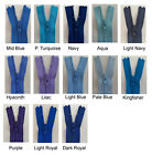 YKK Nylon Closed End Zips - Skirt/Trousers - Blues - 13 lengths