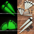 1 Pair 14G-00G Acrylic Glow in the Dark Ear Taper Plugs Stretcher Earlets Gauges
