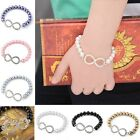 Lady's Fashion Elegant Faux Pearl Crystal Infinity Chain Stretchy Bracelet Gift