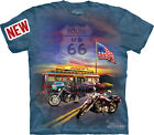 THE MOUNTAIN ROUTE 66 BIKES DINER CLASSIC CARS TSHIRT FREE HARLEY STICKER