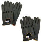 MENS CLASSIC FASHION DRIVING GLOVES SLIM FIT GOAT LEATHER MOTORBIKE BLACK - 507