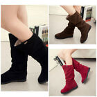 Womens Faux Suede Winter Mid Calf Slouchy High Heel Boots Vintage Shoe Brown