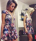 Fashion Women's V-neck Beaded Floral Printed Slim Bodycon Mini Dress Partywear
