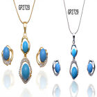 14K Gold Filled Crystal Blue Pearl Necklace Earring Women Jewelry Set In 2 Color