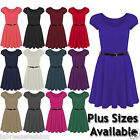 WOMENS LADIES CAP SLEEVE FRANKI SKATER BELT DRESS PLUS SIZE 8 10 12 14 16 22 26