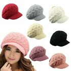Autumn Winter Women Girls Knitted Rabbit Wool Hat Korean Satin Fold Warm Cap Hat