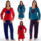 Ladies Soft Fleece Pyjamas Pjs Long Sleeve Hooded Lounger Warm Winter Heart