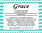 Chevron Pattern Personalized First Name Meaning Poem Wall Room Print
