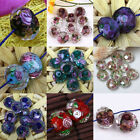 10x Murano Lampwork Glass Foil Flower Inlaid Faceted Loose Bead For Jewelry DIY