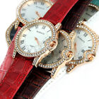 New Fashion Leather Ladies Womens Crystal Classic Dial Quartz Sport Wrist Watch