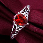 Ladies 925 Sterling Silver Red Crystal Teardrop Ring Size 6.5/8 Jewelry A850