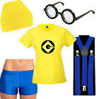Ladies Minion Fancy Dress Costume Accessories Yellow Tshirt Goggles Hat Glasses