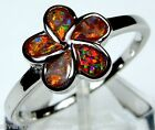 Red Fire Opal Inlay 925 Sterling Silver Plumeria Flower Ring size 6.75 or 7
