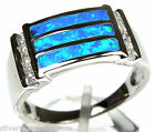 Blue Fire Opal Inlay 925 Sterling Silver Men's, Women's Ring Sizes 6 or 9