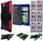 For ZTE Grand X Max Combo Holster HYBRID KICK STAND Hard Rubber Case Phone Cover