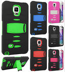 For Samsung Galaxy Note 4 RUGGED Hard Gel Rubber Case Phone Cover Kickstand