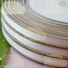 "White 25 Yds/Roll 6mm 1/4"" Gold Edge Satin Ribbon Sewing Scrapbooking Craft"