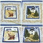 D MORGAN~NAUTICAL FABRIC PANELS~2 DESIGNS~U-PICK~LIGHTHOUSE~BEACH HOUSE~PILLOW
