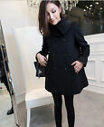 Hot Classic Black Womens Woolen cashmere Blend Double Breasted Loose Jacket Coat