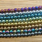"Natural Hematite Gemstone Round Ball Beads 16"" Metallic Color 2 3 4 6 8 10mm"