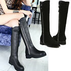 WOMENS LADIES ZIP PULL KNEE HIGH FLAT HEEL FASHION WINTER BOOT SIZE 7.5 8.5 NEW
