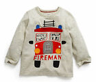 Boys Kids cotton long sleeve Gray Firetruck T-Shirts Tops Baby Toddlers 18M-6T