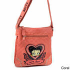 Betty Boop Rhinestone Heart Quilted Messenger Bag $33.42 USD