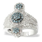 Sterling Silver 3/8ct TDW Diamond and Swiss Blue Topaz Fashion Ring.(H-I, I2-I3)