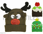 Boys Girls Christmas Beanie Hat, Rudoplh Pudding Tree Festive Hats, Winter Gift
